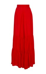 Adriana Degreas Ruffled Wide Leg Pants Red