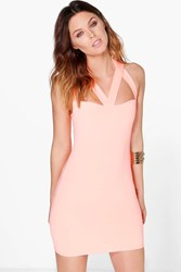 Boohoo Strappy Bodice Bodycon Dress Sugar Coral Sugar Coral
