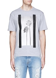 Palm Angels 'Palms' Glitter Print T Shirt Grey
