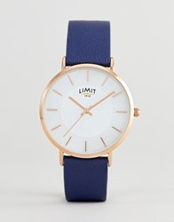 Limit Navy Faux Leather Watch Exclusive To Asos