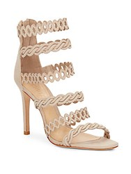 Schutz Leonora Braided And Cutout Leather Booties Oyster