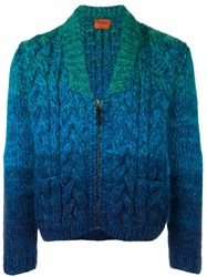 Missoni Chunky Knit Zip Cardigan Blue