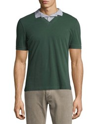Brunello Cucinelli Overlapping Woven Polo Shirt Green Blue Steel