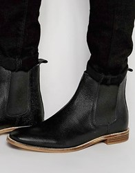 Asos Chelsea Boots In Black Scotchgrain Leather With Natural Sole Black