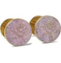 Alice Made This Jessica Rose Bird Rose Patina Brass Cufflinks Purple