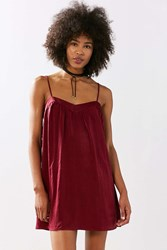 Kimchi And Blue Spaghetti Strap Satin Mini Slip Dress Maroon