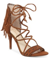 Jessica Simpson Mareya Fringe Sandals Women's Shoes Spiced Brown