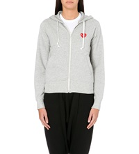 Play Embroidered Heart Cotton Jersey Hoody Top Grey