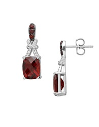 Lord And Taylor Sterling Silver Drop Earrings With Garnet And White Topaz Garnet Silver