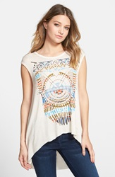 Living Doll 'Necklace' Graphic High Low Tee Juniors Ivory Neon