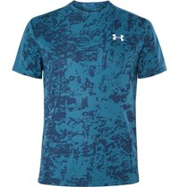 Under Armour Speed Stride Mesh Panelled Printed T Shirt Blue