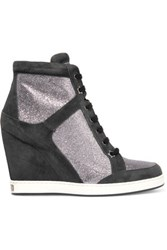 Jimmy Choo Glittered Leather And Suede Wedge Sneakers Midnight Blue