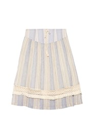 Sea Striped Gauze Lace Up Skirt