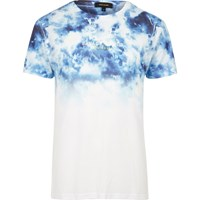 River Island Mens White And Blue Tie Dye T Shirt