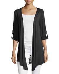 Neiman Marcus Crochet Back Tab Sleeve Cardigan Black