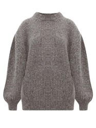 Raey Oversized Ribbed Wool Blend Sweater Charcoal