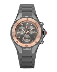Michele Rose Gold Tahitian Large Jelly Bean Chronograph Watch Gray