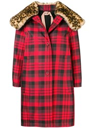 N 21 No21 Check Pattern Coat Red
