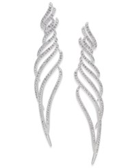 Danori Silver Tone Pave Wavy Drop Earrings Created For Macy's Rhodium