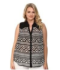 Roper Plus Size 9592 Black White Aztec Print Georgette Black Women's Clothing