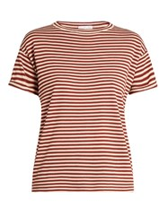 Brunello Cucinelli Striped Wool And Cashmere Blend T Shirt Burgundy Stripe