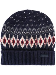 Woolrich Patterned Knit Beanie Blue