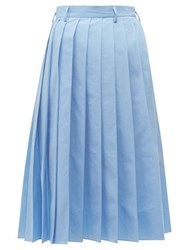Prada Knife Pleated Cotton Poplin Midi Skirt Blue