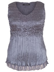 Chesca Lace Crush Pleat Cami Steel