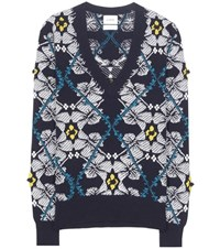 Barrie Jacquard Cashmere Sweater Blue