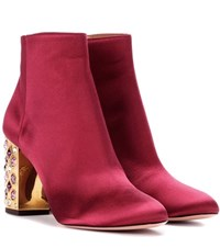 Aquazzura Party 85 Satin Ankle Boots Red