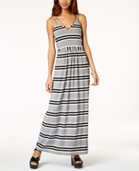 Emerald Sundae Juniors' Striped Maxi Dress Black White