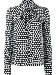 Saint Laurent Polka Dot Pussybow Shirt Black