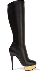 Charlotte Olympia Bonnie Leather Platform Knee Boots Black