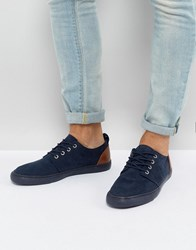 Asos Casual Shoes In Navy Faux Suede Navy