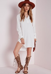 Missguided Collared Curve Hem Shirt Dress White White