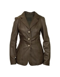 Forzieri Women's Dark Brown Leather Three Button Jacket