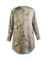 By Walid Celia Chrysanthemum Print Silk Top Grey Print