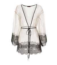 Coco De Mer Sheer Lace Trim Robe Female Black