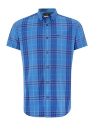 Duck And Cover Hart Short Sleeve Check Shirt Cobalt