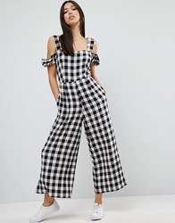 Asos Jumpsuit In Gingham With Cold Shoulder Detail Black And White