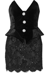 Alessandra Rich Crystal Embellished Velvet And Sequined Lace Mini Dress Black