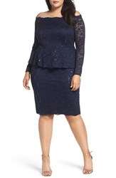 Alex Evenings Plus Size Women's Off The Shoulder Lace Sheath Dress
