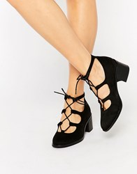 Truffle Collection Lace Up Mid Heel Shoes Black Mf