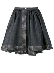Azzedine Alaia Flared Denim Wrap Skirt Blue