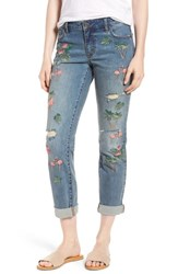 Billy T Flamingo Embroidery Jeans Blue W Embroider