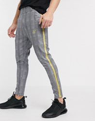 Sik Silk Siksilk Slim Trousers In Grey Check With Side Stripe