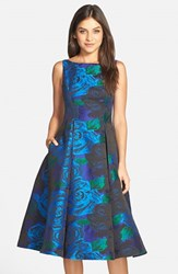 Petite Women's Adrianna Papell Jacquard Tea Length Fit And Flare Dress Blue Green