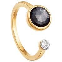 Missoma 18Ct Gold Vermeil Double Orbit Hematite And Zircon Pave Ring Gold Black