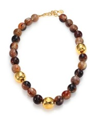 Nest Beaded Horn Statement Necklace Gold Brown