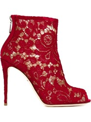 Dolce And Gabbana Floral Lace Booties Red